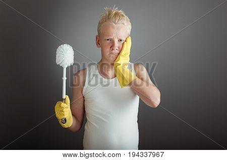 Mad Boy With Gloved Hand On Cheek