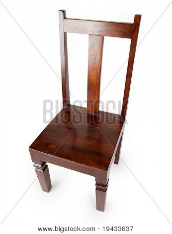 Rosewood chair (also known as sheesham wood), isolated on white. Shot from above.