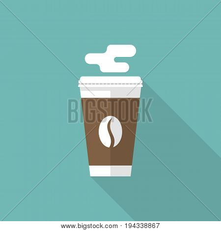 Paper cup of coffee. It's coffe time, poster template concept. Disposable cup hot drink. Vector illustration flat design. Isolated on background.