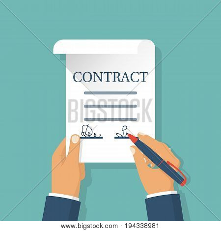 Businessman holding a contract in hands puts a signs. legal paper. Vector illustration flat design. Isolated on background. Signing business document, autograph. Pen in hand.