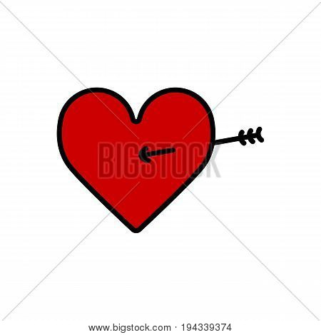 Lovestruck or arrow through heart flat icon for apps and websites. Eps 10