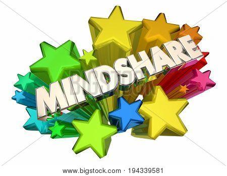 Mindshare Awareness Attention Top Popularity Stars 3d Illustration