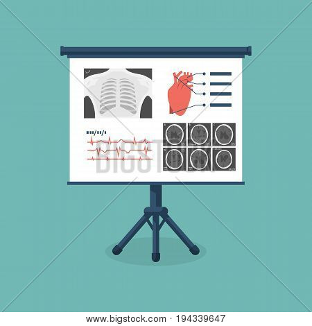 Medical billboard with diagnose. Set of medical research: X-ray, CT, MRI brain, cardiogram. Banner template for medical presentations. Vector  illustration, flat design. Isolated on background.
