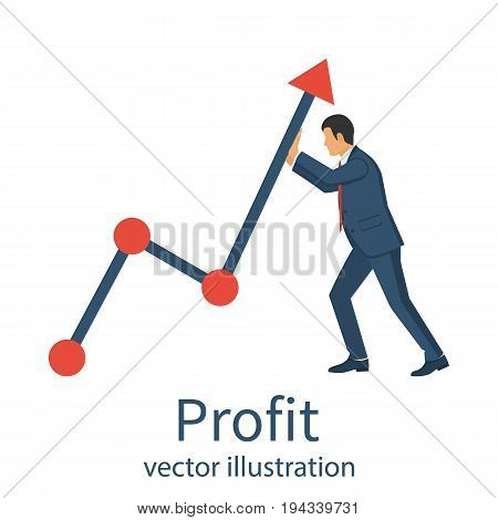 Profit concept, growing business graph. Businessman hands up graph of financial growth. Template manages investment. Vector illustration flat design. Holding chart arrow. Isolated on white background.