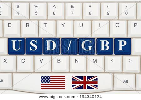 Currency converter on the internet A close-up of a keyboard with blue highlighted text USD GBP 3D Illustration