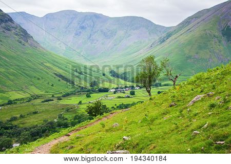 Views of the mountains on the path to Scafell pike, , Lake District National Park, England, selective focus