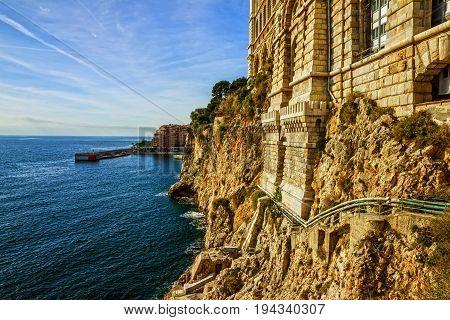 Monaco and Monte Carlo principality. Sea view. Oceanographic museum building