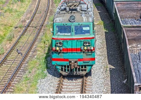 locomotive train in Ukraine - railway transport former Soviet building