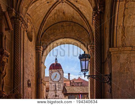Trogir loggia and clock tower architecture, Croatia