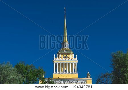 The Golden Spire Of Neoclassical Admiralty Building View In St Petersburg, Russia