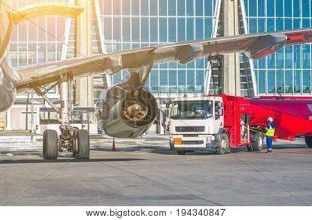 Refueling Aircraft, Aircraft Maintenance At The Airport.