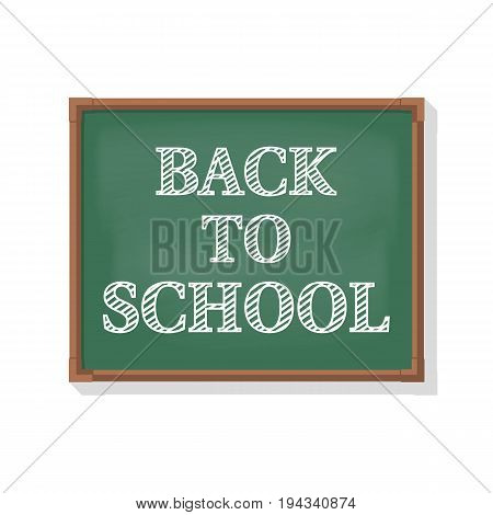 Back to school. Welcome sign on the school board. Vector illustration flat style. Blackboard with the message written in chalk. Template for design.