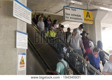 Babylon N.Y. USA - 29 June 2017: Commuters arrive late at the Babylon train station wondering what it will be like in two weeks when the