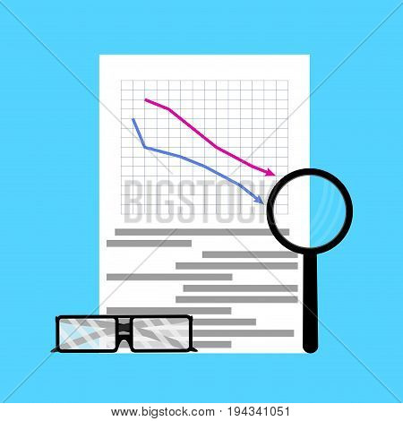 Fall of market flat business. Finance crisis and downtrend market. Vector illustration