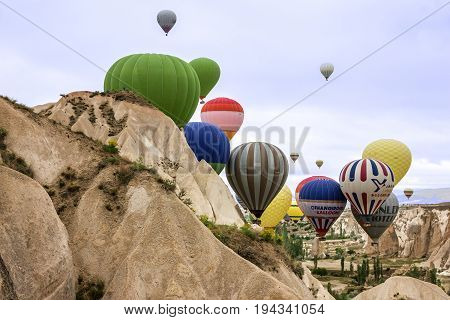 Goreme, Turkey - July4, 2017: Air balloons in Cappadocia, Turkey, Goreme