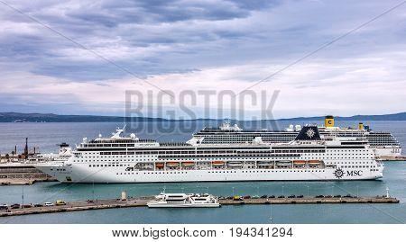SPLIT, CROATIA - MAY 12, 2017: Cruise liner MSC in Split port
