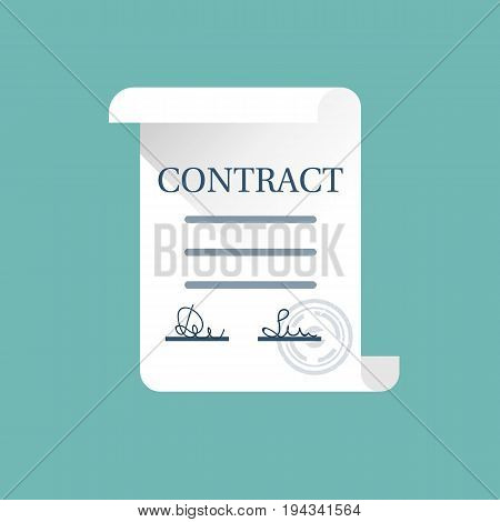 Contract icon. Signed treaty with the seal. Certified document stamp. Vector illustration flat design. Isolated on white background. Partnership concept.