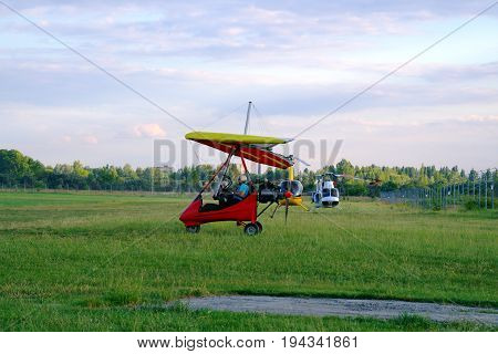 Hang Glider Begins To Take Off