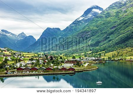 Mountain landscape sea view, Olden rural town, Norway