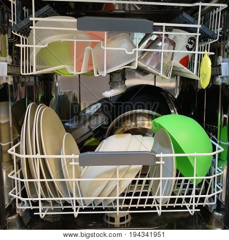 Dishware Clean After Washing In The Dishwasher