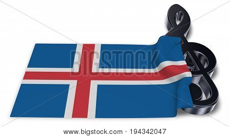 clef and flag of iceland - 3d rendering