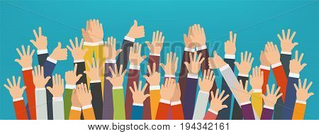 Concept of raised up hands. Concept of education business training.
