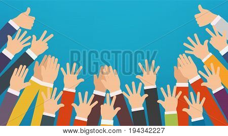 Concept of raised up hands. Party concept of education business training volunteering charity.