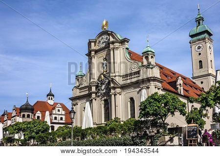 Munich, Germany - may 30, 2017: Cathedral church in Historical center of Munich
