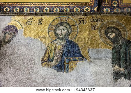 Istanbul, Turkey - July 5, 2017: Christian Icon in Hagia Sophia in Istanbul, Turkey - greatest monument of Byzantine Culture.