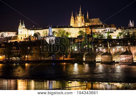 Prague night view, Pragsky grad (Prague Castle) and Charles bridge, Czech republic