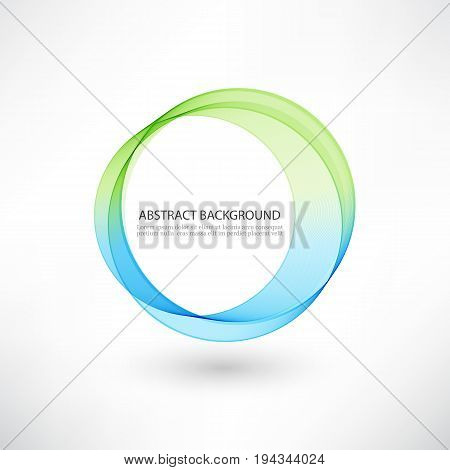Abstract blue, green swirl circle bright background. Vector illustration for you modern design. Round frame or banner with place for text.