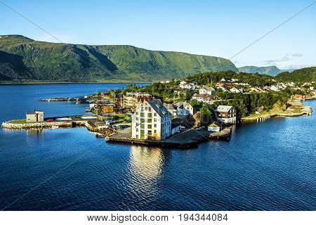 Alesund, Norway - panoramic view on center of cruise port Alesund in Norwegian fjords