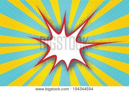 sharp comic bubble cloud in the background of pop art rays. Pop art retro vector illustration