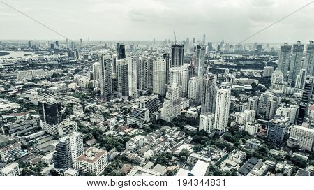 Aerial drone view of Bangkok during cloudy day