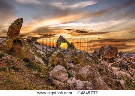 Sunset in Cappadocia, Anatolia, Turkey. Goreme national park.