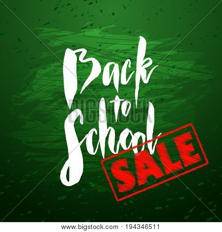 Text back to school - hand drawn lettering with chalk on green blackboard. Big sale banner with red stamp. Vector illustration stock vector.