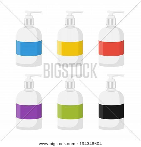 Set colorfull plastic soap dispensers isolated on white background. Vector illustration flat style. Blank bottles as template design.