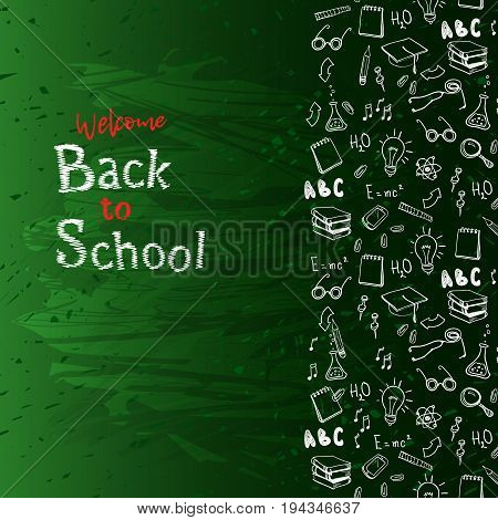 Vertical seamless border with school elements and text welcome back to school chalk on blackboard. Modern thin line icons school supplies. Super sale doodles. Vector illustration stock vector.