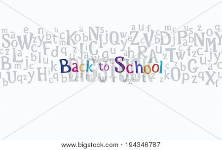 Horizontal seamless border with alphabet charecters or letters and text welcome back to school on light background. Vector illustration stock vector.