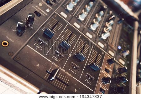 Close up of audio console