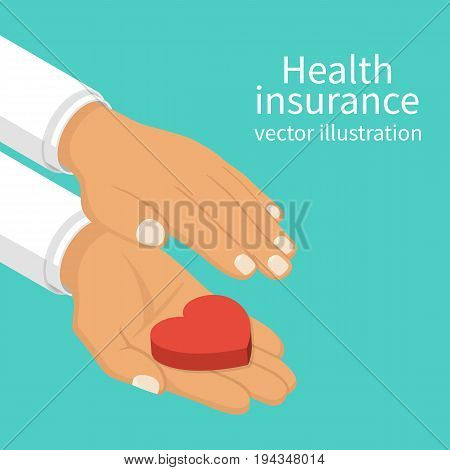 Health insurance isometric design. Protect health.  Hands doctor holding heart. Isolated on background. Healthcare concept. Vector illustration flat style.
