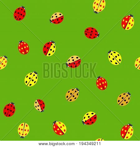 Ladybug color chaotic seamless pattern. Fashion graphic background design. Modern stylish abstract texture. Colorful template for prints textiles wrapping wallpaper website . Vector illustration