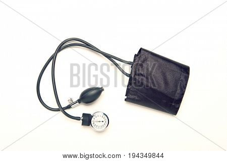 Medical sphygmomanometer for blood pressure isolated over white background