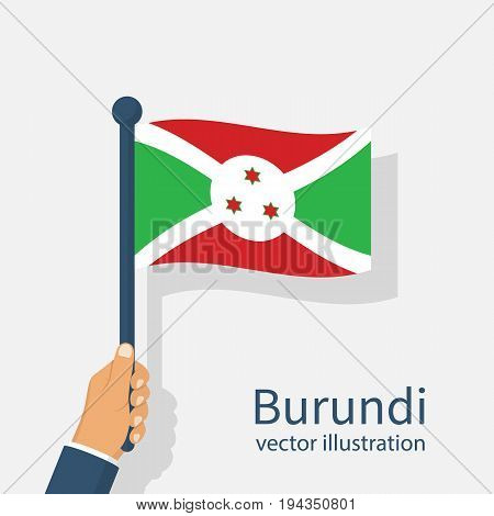 Burundi flag. Republic of Burundi is state of East Africa. Man holds a flag in hand. Illustration in layers. Vector flat design. Isolated on white background.