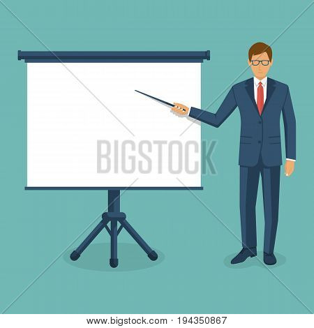 Businessman presenting. Man in suit with pointer in hand, white empty board presentation. Template for chart, trainings, reports. Space advertising, promotion. Vector design. Isolated on background.