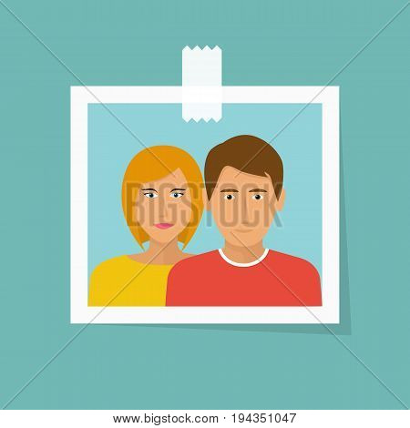 Photo of couple in love. Family man and woman. Young people are happy. Smile on the face. Vector illustration flat design. Isolated on white background. Romantic picture.