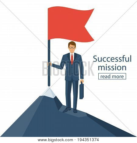 Successfull mission. Businessman standing with red flag on mountain peak. Goal achievement. Put flag on mountain peak, symbol of victory. Vector style flat. Isolated on background. Business concept.