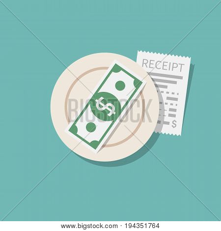 Money for services. TIPS left on table. Restaurant receipt. Saucer with payment. Gratuity concept. Thanks to waiter. Vector flat design. Isolated on background. Cash payment.