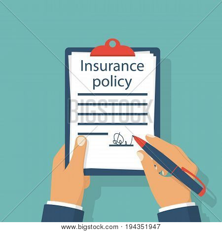 Insurance policy. Man signature form, holding clipboard in hand. Vector illustration flat design. Claim form. Isolated on background. Document protection property.