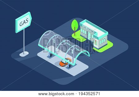 Vector isometric icon illustration. Gas station, petrol station with shop and car.